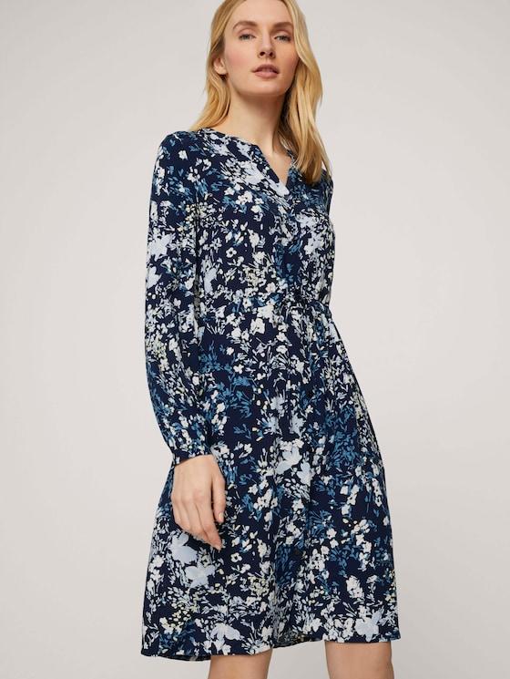 Gemustertes Blusenkleid - Frauen - navy bigger flower design - 5 - TOM TAILOR