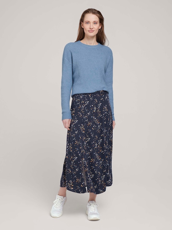 Gemusterter Midi Rock mit LENZING™ ECOVERO™ - Frauen - blue dot print - 3 - TOM TAILOR Denim