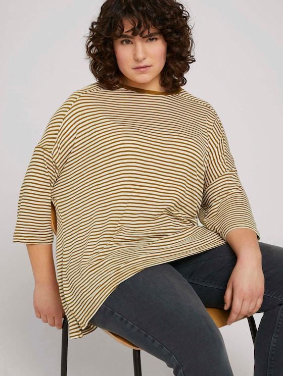 Lockeres Shirt mit Bio-Baumwolle  - Frauen - ecru umber stripe - 5 - My True Me