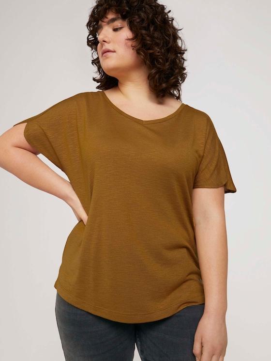 T-shirt met mouwdetail - Vrouwen - California Umber - 5 - My True Me