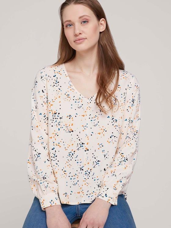V-Aussschnitt Bluse mit LENZING™ ECOVERO™ - Frauen - creme dot print - 5 - TOM TAILOR Denim