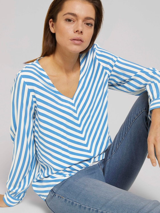 V-Aussschnitt Bluse mit LENZING™ ECOVERO™ - Frauen - mid blue white stripe - 5 - TOM TAILOR Denim