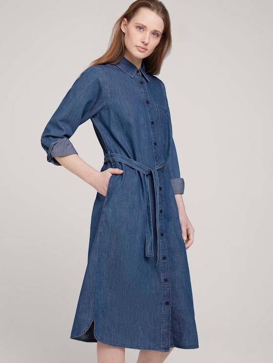 Hemdkleid aus Jeans - Frauen - Clean Mid Stone Blue Denim - 5 - TOM TAILOR Denim