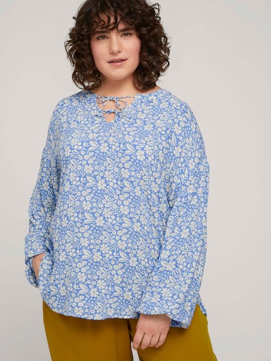 Tunika Bluse mit Blumenmuster - Frauen - blue flower paisley - 5 - My True Me