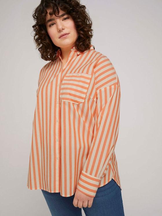 Gestreifte Hemdbluse - Frauen - ecru red vertical stripe - 5 - My True Me