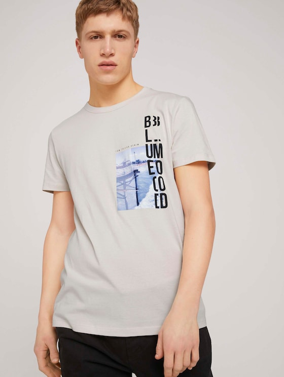 Fotoprint T-Shirt mit Bio-Baumwolle  - Männer - Soft Beige Solid - 5 - TOM TAILOR Denim