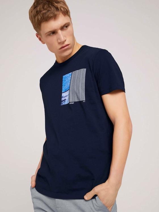 Fotoprint T-Shirt mit Bio-Baumwolle  - Männer - Sky Captain Blue - 5 - TOM TAILOR Denim