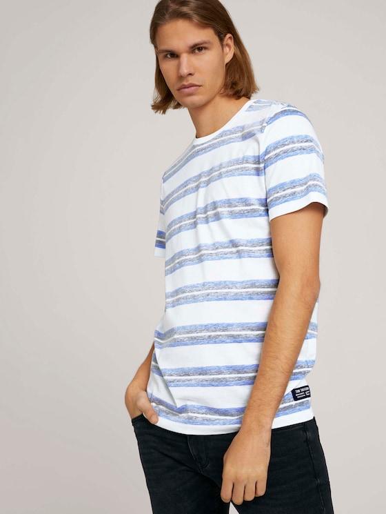 gestreiftes T-Shirt - Männer - white blue irregulat stripe - 5 - TOM TAILOR Denim