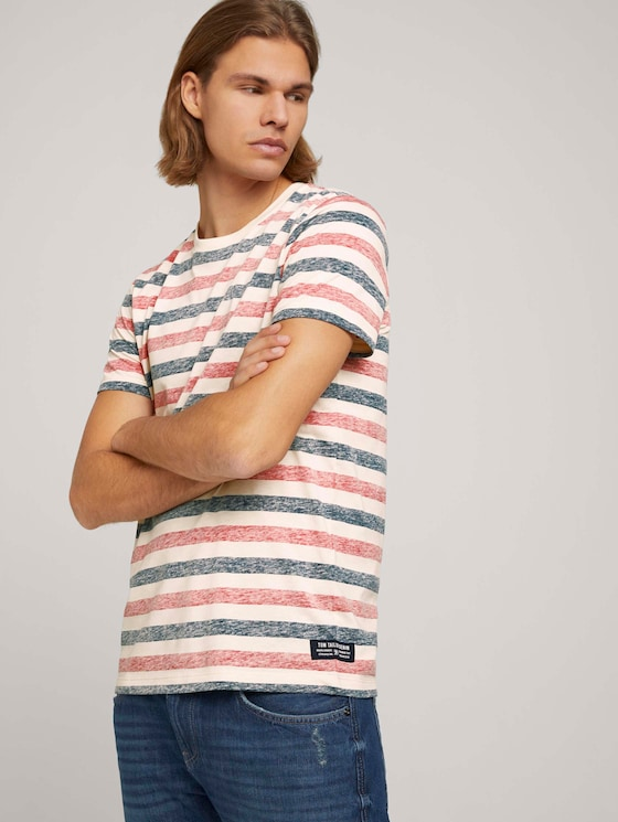 gestreiftes T-Shirt - Männer - red navy almond middle stripe - 5 - TOM TAILOR Denim