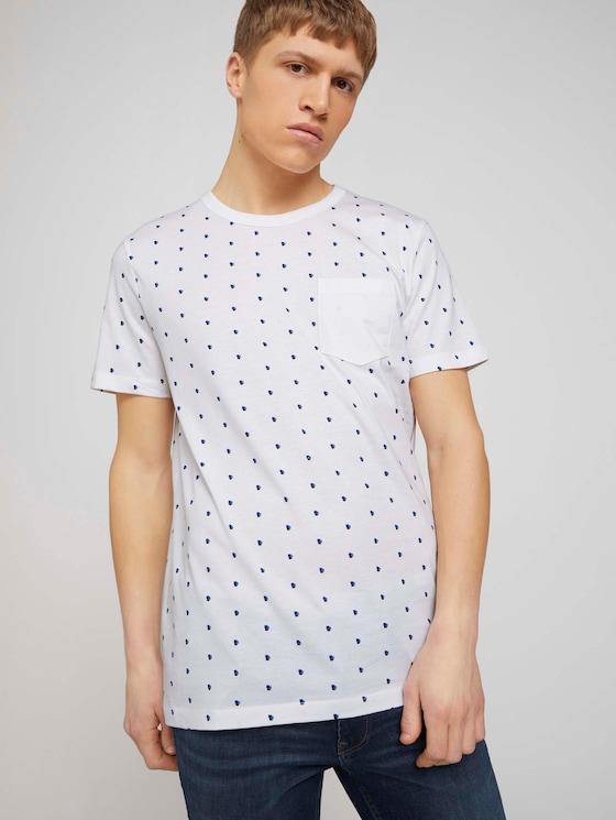 T-Shirt mit Bio-Baumwolle  - Männer - white colored squares print - 5 - TOM TAILOR Denim