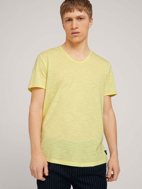 strukturiertes T-Shirt - Männer - cream yellow melange - 5 - TOM TAILOR Denim