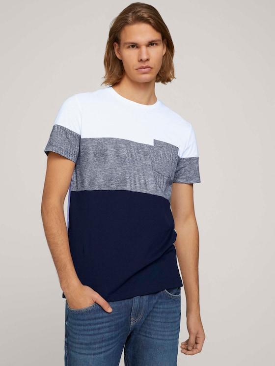 Tshirt mit Brusttasche - Männer - Sky Captain Blue - 5 - TOM TAILOR Denim