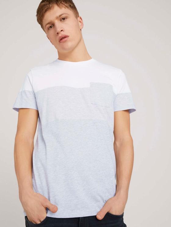 T-shirt met borstzak - Mannen - Light Stone Grey Melange - 5 - TOM TAILOR Denim