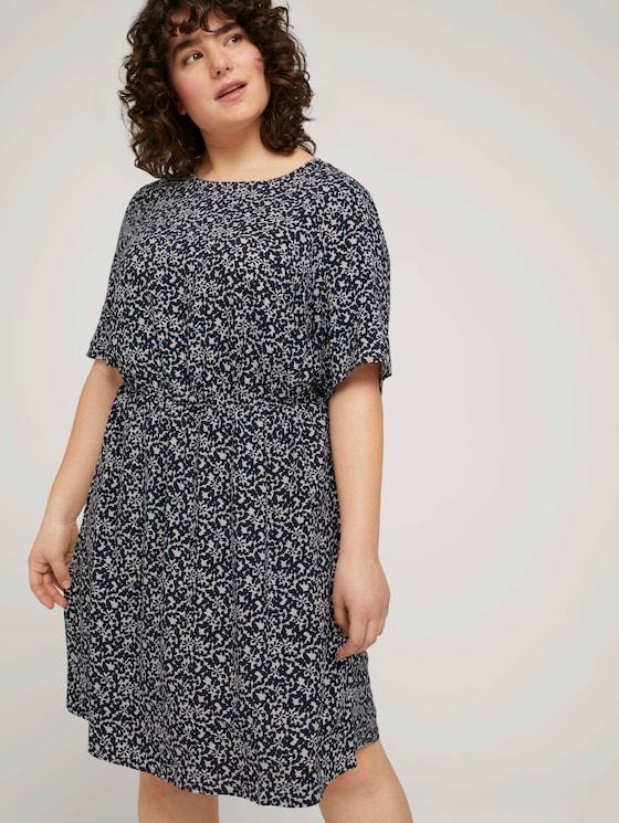 Curvy - Fließendes Kleid mit Blumenmuster - Frauen - navy flowers and dots - 5 - My True Me