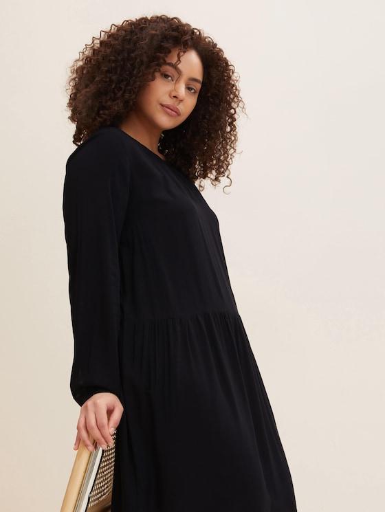 Blusenkleid mit Faltendetails - Frauen - deep black - 5 - My True Me