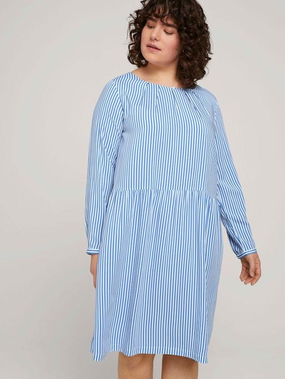 Plus - Blusenkleid mit LENZING™ ECOVERO™ und Faltendetails - Frauen - marina white vertical stripe - 5 - My True Me