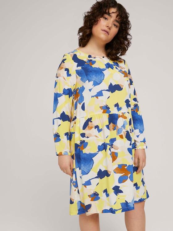 Plus - Blusenkleid mit LENZING™ ECOVERO™ und Faltendetails - Frauen - big floral pattern - 5 - My True Me
