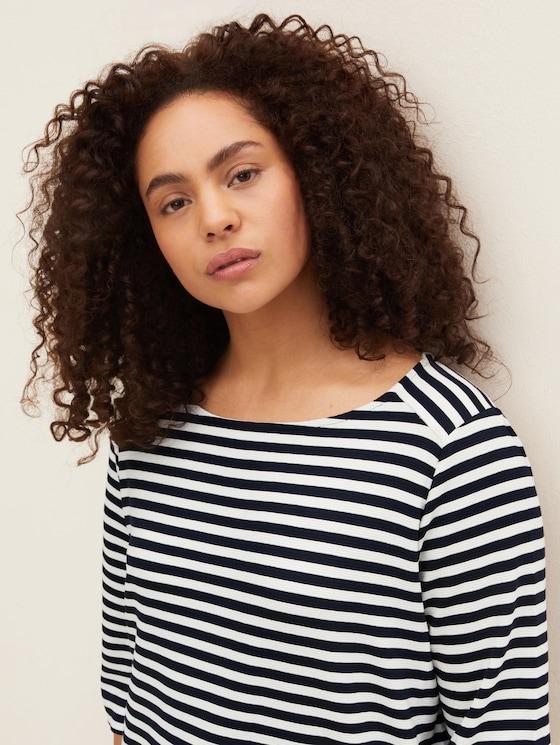 Curvy - Gestreiftes Ottoman Sweatshirt - Frauen - navy white regular stripe - 5 - My True Me