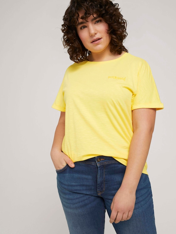 T-shirt with small embroidery - Women - mellow yellow - 5 - My True Me