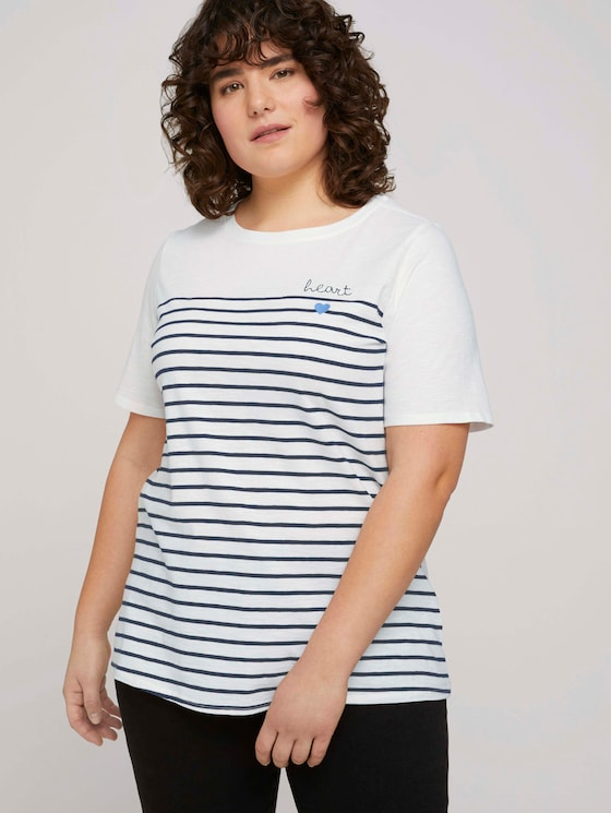 Striped T-shirt made with organic cotton  - Women - Whisper White - 5 - My True Me