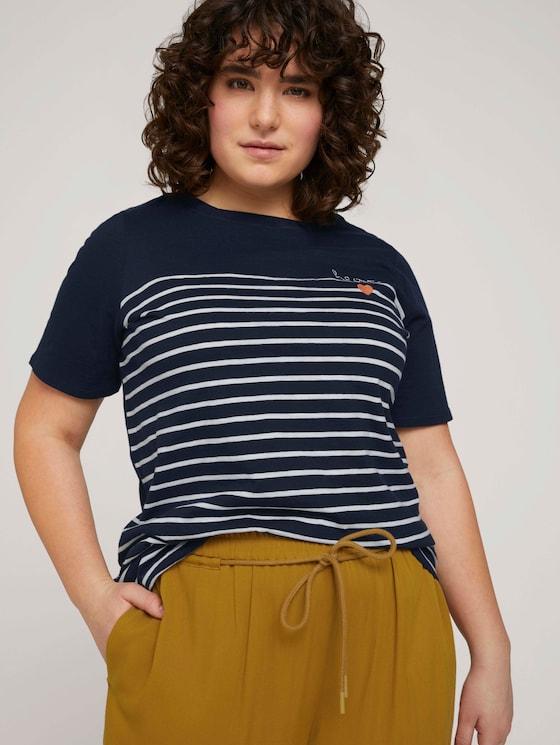 Gestreiftes T-Shirt mit Bio-Baumwolle  - Frauen - Sky Captain Blue - 5 - My True Me