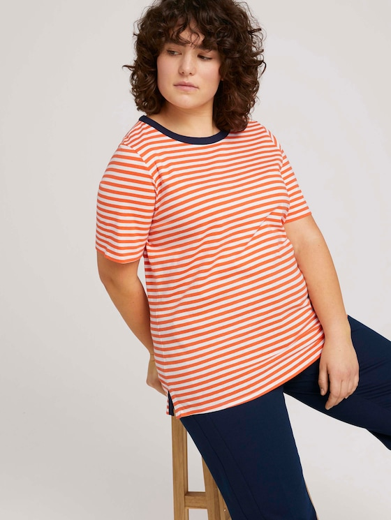 Striped t-shirt made with organic cotton   - Women - red white regular stripe - 5 - My True Me