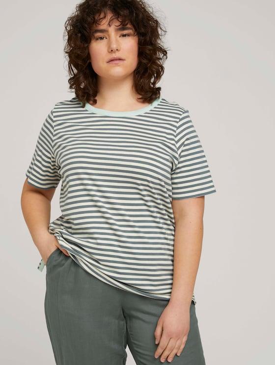 Gestreiftes T-Shirt aus Bio-Baumwolle - Frauen - jasper green white stripe - 5 - My True Me