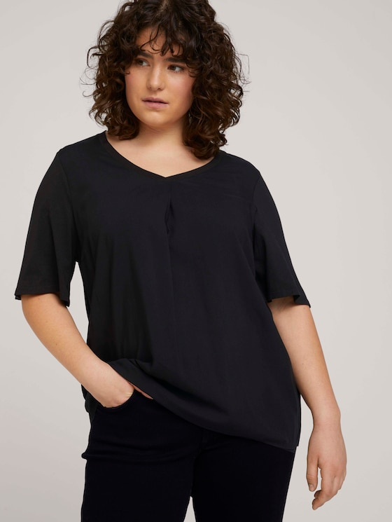 T-Shirt mit LENZING™ ECOVERO™ und V-Ausschnitt - Frauen - deep black - 5 - My True Me