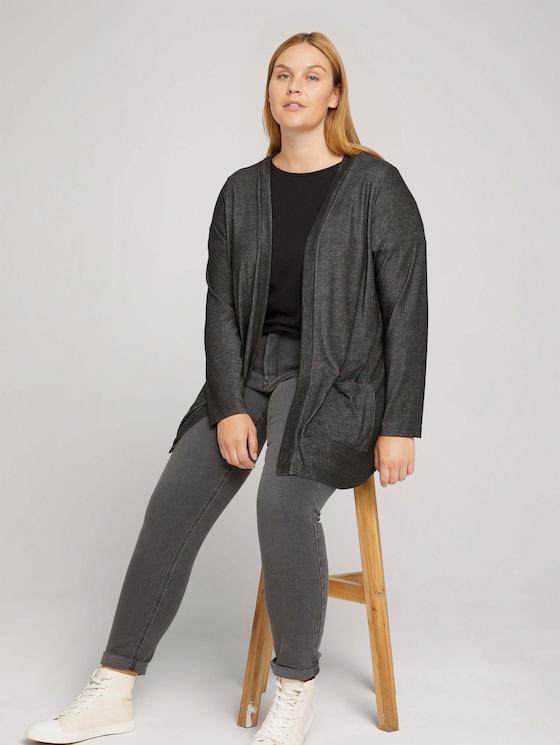 Curvy - Shirt Cardigan mit LENZING™ ECOVERO™ und Taschen - Frauen - Shale Grey Melange - 5 - My True Me