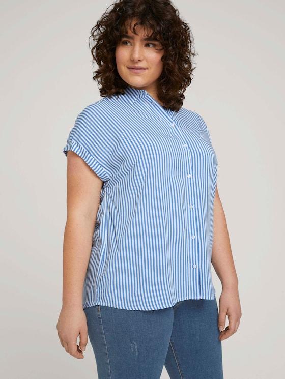 gestreifte Kurzarmbluse mit LENZING™ ECOVERO™ - Frauen - marina white vertical stripe - 5 - My True Me