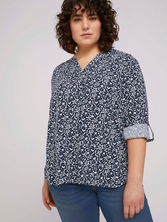 Bluse mit LENZING™ ECOVERO™ und Faltendetail - Frauen - navy flowers and dots - 5 - My True Me