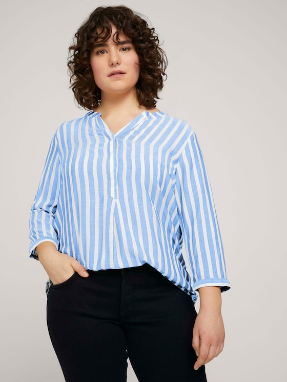 Gestreifte Henleybluse - Frauen - blue white vertical stripes - 5 - My True Me