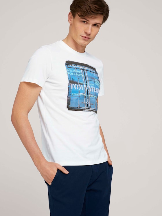 t-shirt made with organic cotton  - Men - Off White - 5 - TOM TAILOR