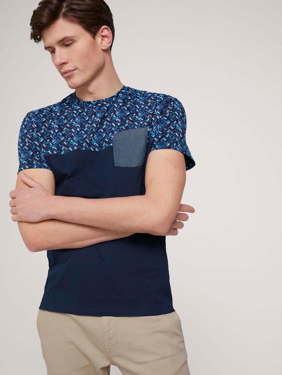 gemustertes T-Shirt mit Bio-Baumwolle  - Männer - navy base blue shades design - 5 - TOM TAILOR
