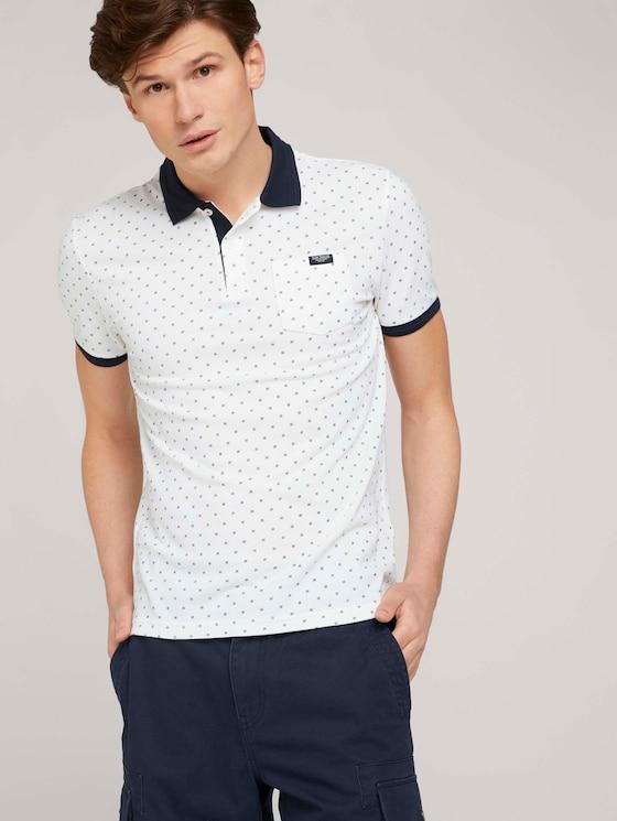 gemustertes Poloshirt mit Bio-Baumwolle  - Männer - white base blue element design - 5 - TOM TAILOR