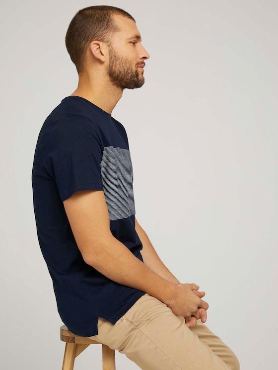 Tshirt mit gestreiftem Einsatz - Männer - Dark Blue - 5 - TOM TAILOR