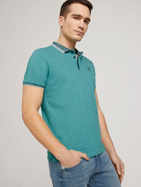 Poloshirt mit Logoprint - Männer - dusty aqua - 5 - TOM TAILOR