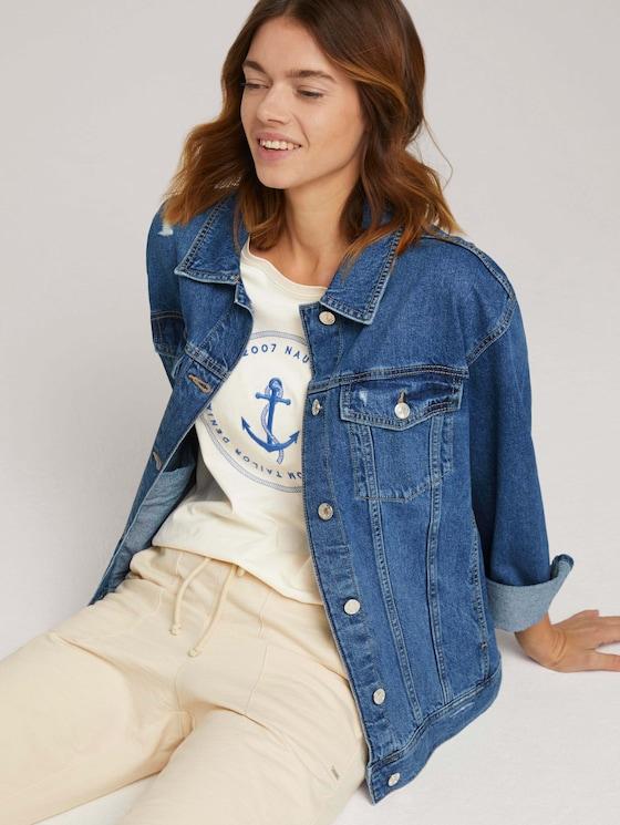 Jeansjacke im Used Look - Frauen - Used Mid Stone Blue Denim - 5 - TOM TAILOR Denim