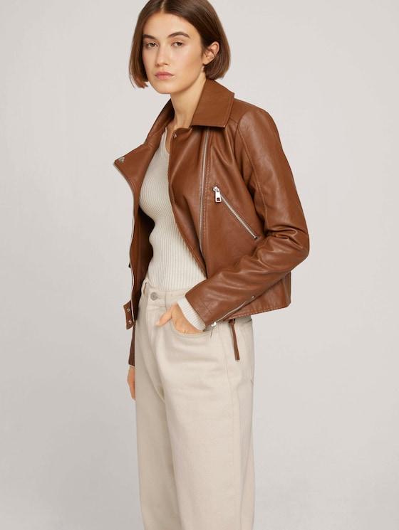 Biker leather jacket - Women - amber brown - 5 - TOM TAILOR Denim