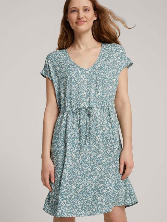 Mini-Kleid mit Rückendetail - Frauen - mineral blue flower print - 5 - TOM TAILOR Denim
