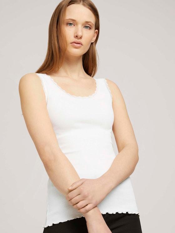 geripptes Top - Frauen - Gardenia White - 5 - TOM TAILOR Denim