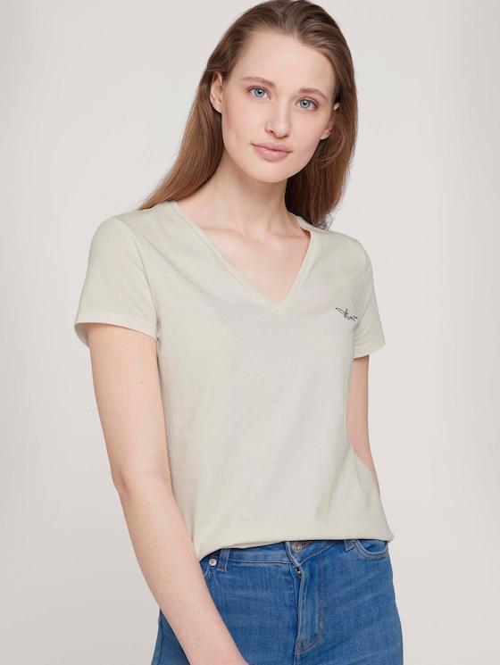 T-Shirt mit Bio-Baumwolle  - Frauen - Gardenia White - 5 - TOM TAILOR Denim