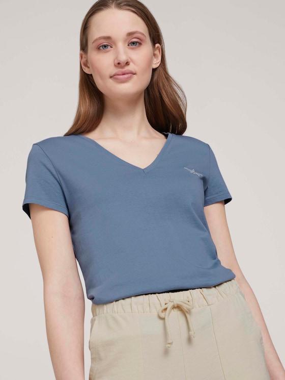 Tshirt mit Stickerei - Frauen - soft mid blue - 5 - TOM TAILOR Denim