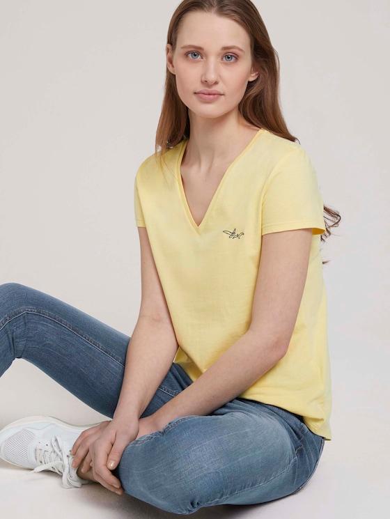 T-Shirt mit Bio-Baumwolle  - Frauen - soft yellow - 5 - TOM TAILOR Denim