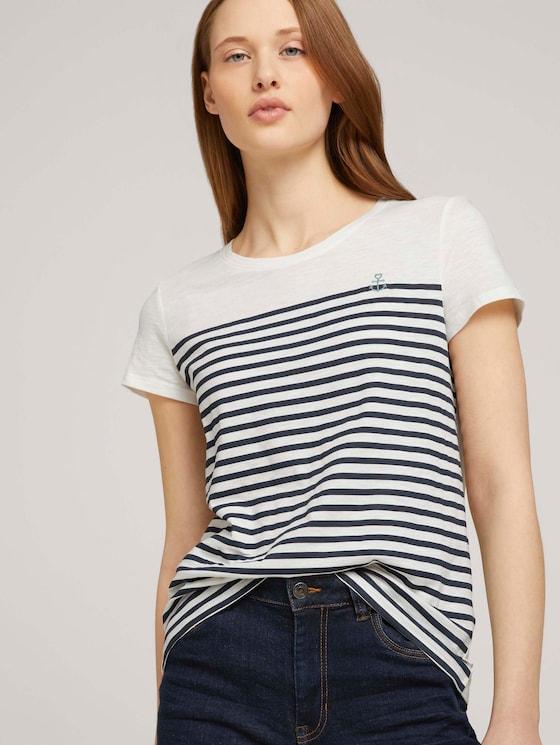 Gestreiftes T-Shirt mit Bio-Baumwolle - Frauen - Gardenia White - 5 - TOM TAILOR Denim