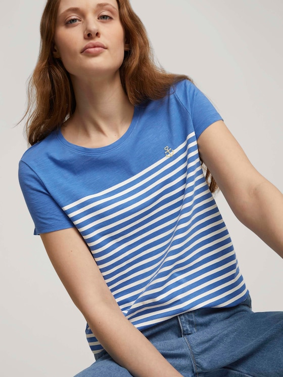Gestreept T-shirt met geborduurde - Vrouwen - mid blue - 5 - TOM TAILOR Denim
