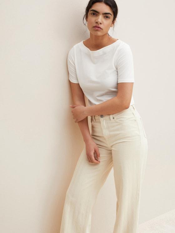 Basic T-Shirt mit Bio-Baumwolle  - Frauen - Gardenia White - 5 - TOM TAILOR Denim