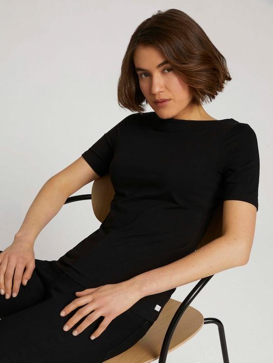 Basic Halbarmshirt mit Bio-Baumwolle - Frauen - deep black - 5 - TOM TAILOR Denim