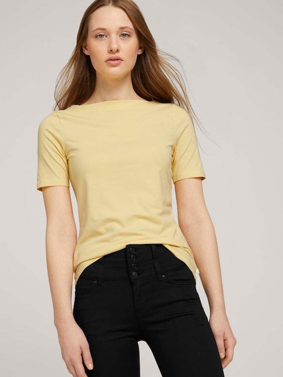 Basic T-Shirt mit Bio-Baumwolle - Frauen - soft yellow - 5 - TOM TAILOR Denim