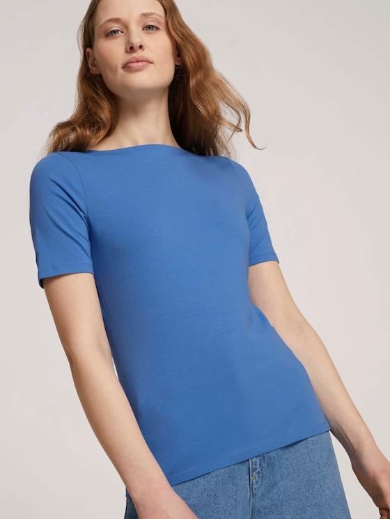Basic Halbarmshirt mit Bio-Baumwolle - Frauen - mid blue - 5 - TOM TAILOR Denim